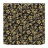 taquxinlaowan Fondo Negro con Hermosas Flores Doradas Set Cortina Ducha Tela