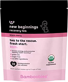Bamboobies New Beginnings Recovery Tea | Boosts Energy and Promotes Healthy Labor Recovery | Black Cherry | 10 Tea Bags