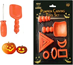 Pumpkin Carving Kit Contains Scoop, Knife and 6 Face Pattern Tools | Halloween Jack O' Lantern Party Decorations, Thanksgiving Supply
