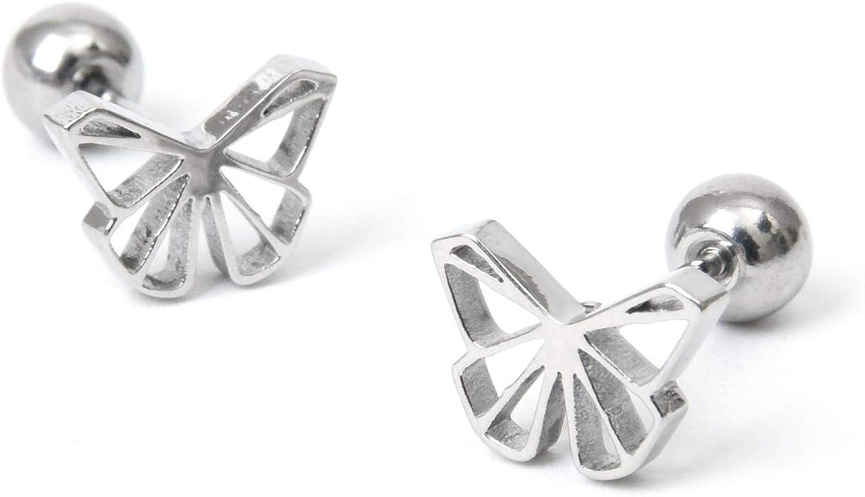 Butterfly stud earrings Surgical steel Screw back ball piercing ear earrings 1 pair