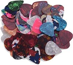RuleaxAsi 100 unidades/pacote colorido palhetas de guitarra celulóide para baixo guitarra elétrica acústica (cores & espes...