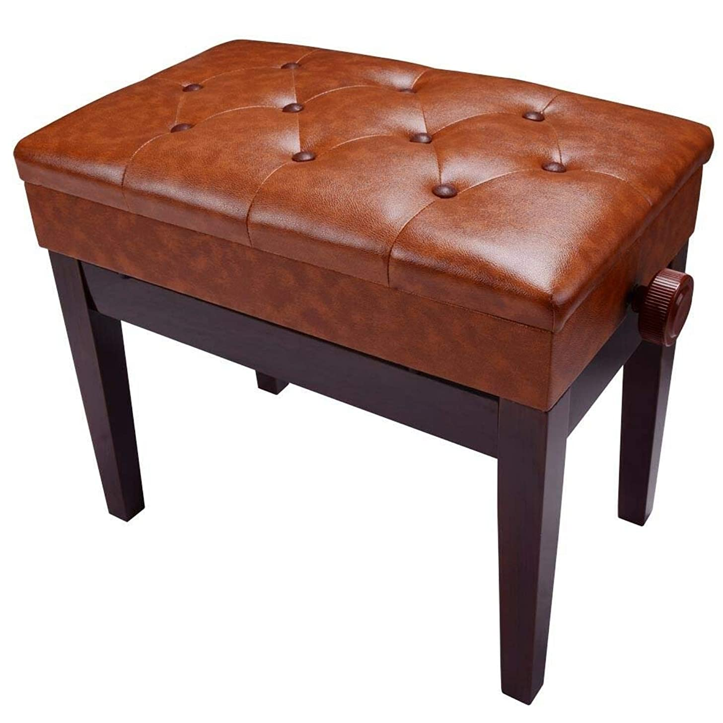 Piano stool/piano seat/PU leather storage height adjustable thick keyboard brown