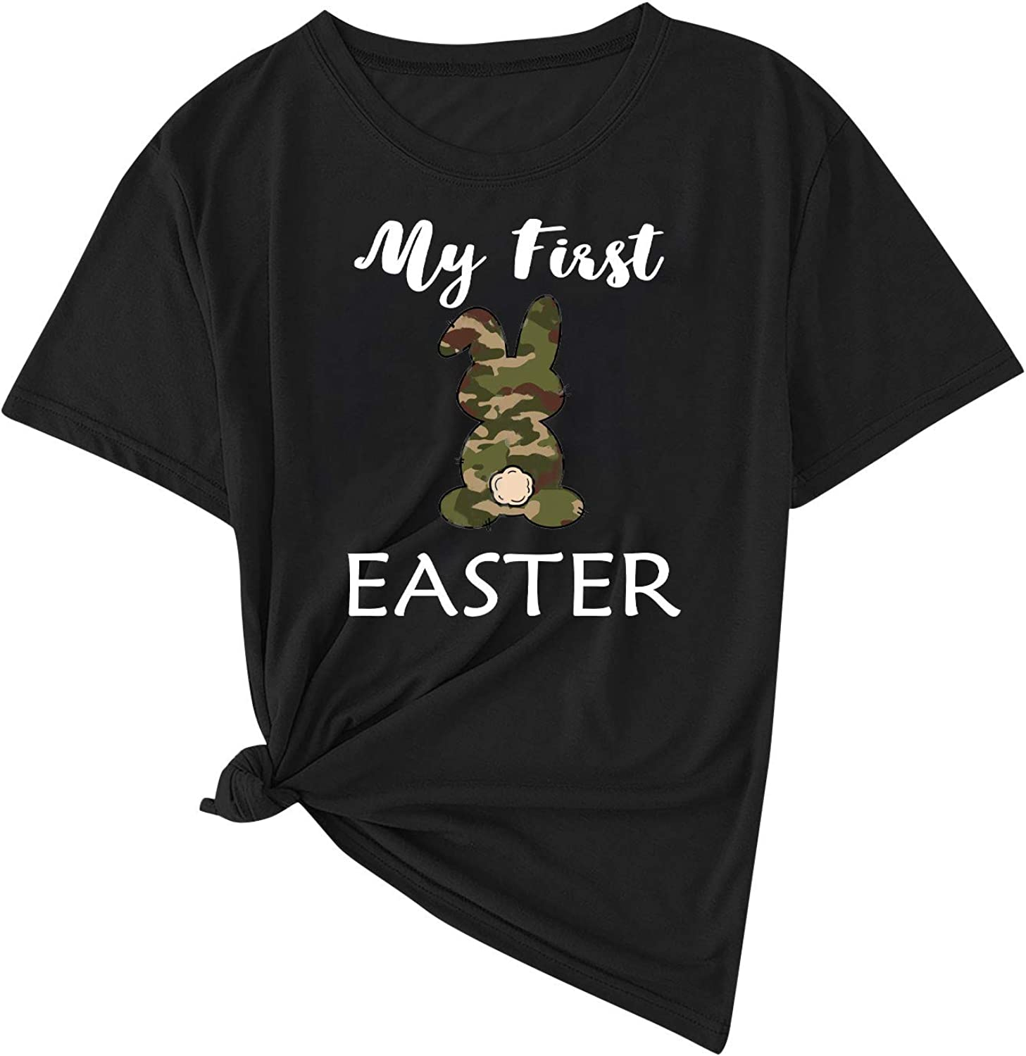 Women's Easter T-Shirt Leopard and Plaid Bunny Printed Tops Tee