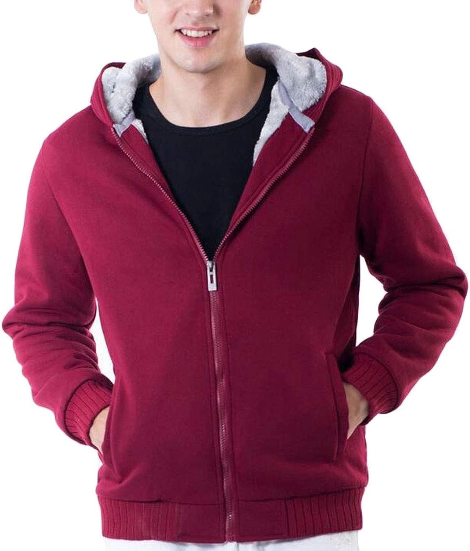 dabb7de69 Emastor Men Winter Warm Fleece Lined Zipper Solid Sweatshirt Jacket Hoodies  f88d1f