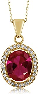 4.40 Ct Oval Red Created Ruby 18K Yellow Gold Plated Silver Pendant