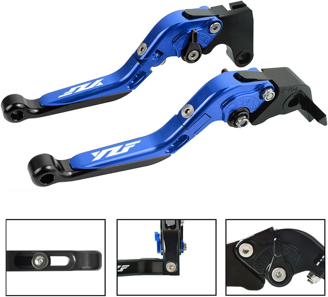 Brake /& Clutch Levers Set Foldable Extendable CNC For Yamaha YZF R1 2004-2014 For Yamaha YZF R6 2005-2016 Blue+Black
