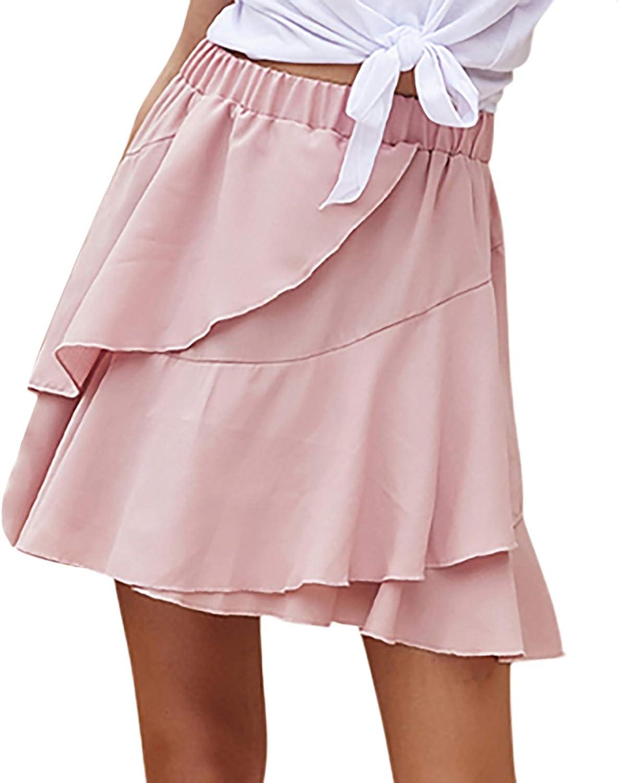 WOYAOFA Women's Solid Cute Elastic Waist Ruffles Splicing Ruffle Hem Holiday Style Flared Casual A-Line Skirt