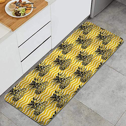 MIGAGA Kitchen Rug Cushioned Floor Mat,Sketch Pineapple Gold Black White Zig Zag Pattern Stylish,Non-Slip Standing Carpet for Doorway Bathroom Runner Rugs