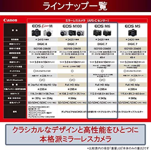 Canonミラーレス一眼カメラEOSM6ダブルズームキット(シルバー)EF-M15-45mm/EF-M55-200mm付属EOSM6SL-WZK