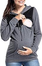 Donne Incinte Allattamento al Seno Maglione di Colore Solido con Cappuccio Slim Vestiti per LAllattamento al Seno Top Patchwork Abbigliamento Premaman