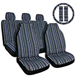 Copap 10pc Multi-Color Baja Saddle Blanket Car Seat Covers with...