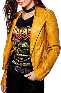 جاكيت راكب الدراجات من سبازياب للنساء جلد مبطن اصفر