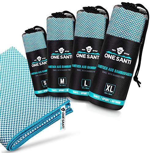 ONE SANTI Reisehandtuch - Unsere Bambus Handtücher als Top Backpacker Zubehör - Reisehandtuch schnelltrocknend & kompakt - Travel Towel (Aqua M)