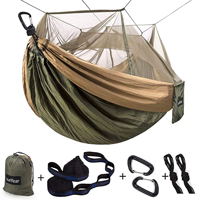 Sunyear Single & Double Camping Hammock with Net - Best Quality