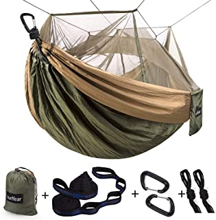 Single & Double Camping Hammock with Mosquito/Bug Net, 10ft Hammock Tree Straps and..