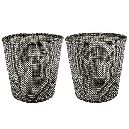 2PCS Waste Baskets - Jacone Stylish Textilene Woven Fabric Round Office Wastepaper Baskets Nursery Waste Bins - Easily Clean