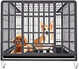 GAOJINXIURZ Jaulas para Perros Jaula Grande Perro, de Metal Desmontable Anti-Escape 2-Puerta for Mascotas Cerca cajón Juego con Techo corredizo y Bandeja de Frenos y Ruedas (Size : 79 * 54 * 73cm)