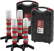 Twinkle Star Emergency Roadside Flares Kit LED Safety Strobe Road Warning Light Highway Beacon Alert Flare with Magnetic Base, Detachable Stand, Solid Storage Case (Set of 4)