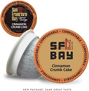 SF Bay Coffee Cinnamon Crumb Cake 80 Ct Flavored Medium Roast Compostable Coffee Pods, K Cup Compatible including Keurig 2.0 (Packaging May Vary)