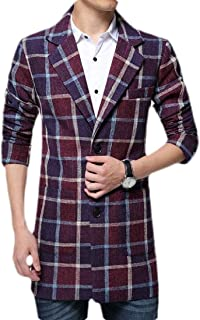 Men Fashion Gentleman Large Size Gingham Single Breasted Wool Pea Coat