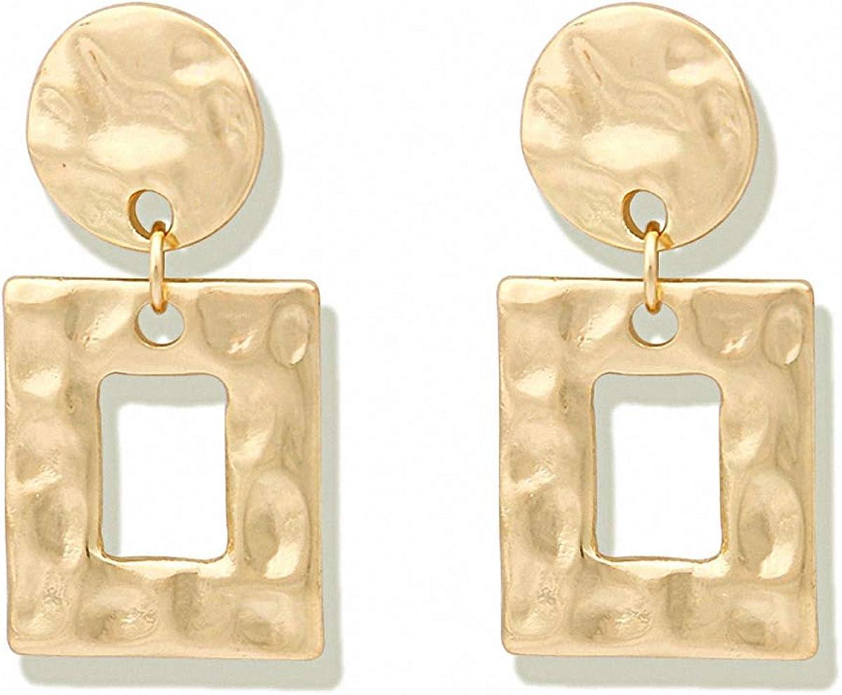 Minimalist Hammered Square Earrings Women Brass Geometric Earrings Statement Dangle Earrings