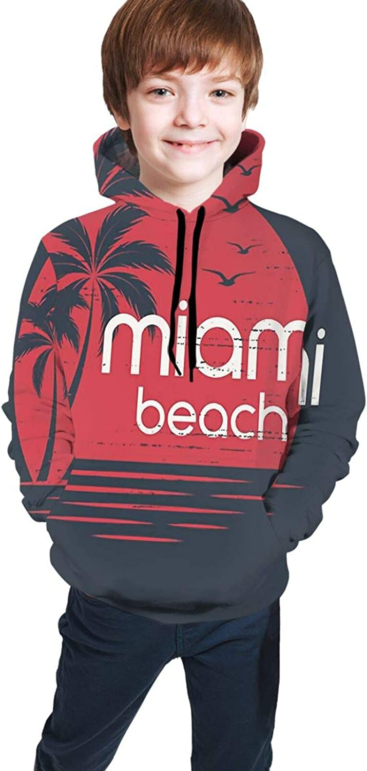 Kimisoy Miami Sunset Free shipping anywhere in the nation Kids Hoodie Comfy P Hooded Loose Fashionable Sweatshirt
