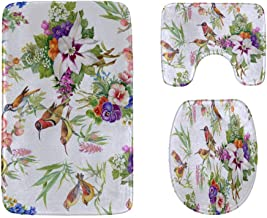 Beautiful Flowers and Colorful Birds Bathroom Rug Mats Set 3-Piece,Soft Shower Bath Rugs,Contour Mat and Toilet Seat Lid C...