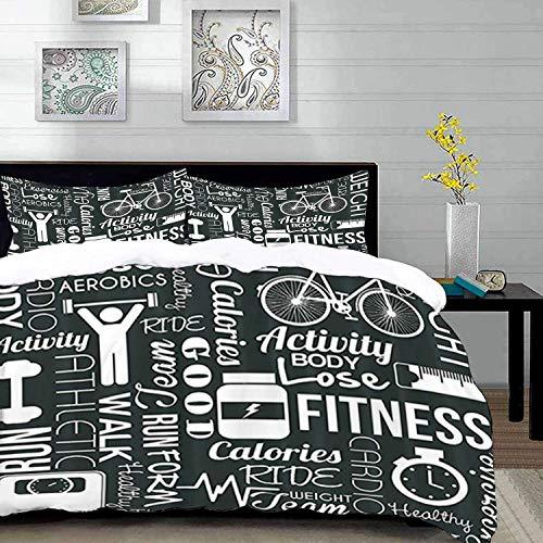 ropa de cama: juego de funda nórdica, ejercicio físico aeróbico Fitness Love Healthy Life, blanco y negro, verde amarillento, juego de funda nórdica de microfibra con 2 fundas de almohada de 50 x 75 c