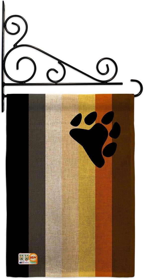 お歳暮 Pride Bear Brotherhood Garden Flag Support 定価の67%OFF Set Wall Holder Rainb