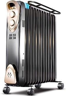 Portátil llena de aceite Radiador de habitaciones completa Calentador de espacios con termostato de Hogares de ahorro de energía del calentador Tercer engranaje Reglamento ( Color : Black 58x25x64cm )