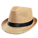 VRTUR Unisex Sonnenhut Trilby Gangster Deckel Strand Sonne Stroh Hut Band Hut Caps...