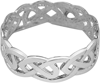 Celtic Wedding Bands Fine 10k White Gold Trinity Knot Eternity Ring