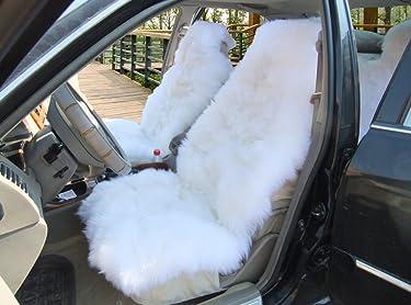 OKAYDA Car Seat Cover Genuine Australia Sheepskin Luxury Long Wool Front Seat Cover Fits Car, Truck, SUV, or Van (1 Piece) (White 1)