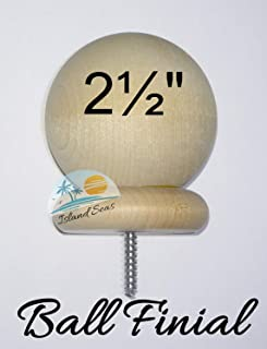 "BDH / Island Seas 2.5"" Round Wood Ball Finial - - Wood Cap Baluster Newel Post Railing with 3/16"" Screw"
