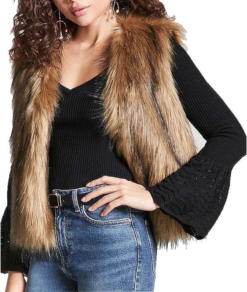 LIYT Women's Soft Faux Fox Fur Vest Waistcoat Sleeveless Short Jacket Coat Outerwear