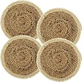 Set of 4 Pack Woven Placemats for Dining Table, Round Braided Place Mat Handmade Natural Water Hyacinth Wicker...