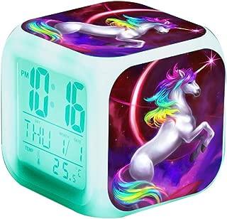 Unicorn Digital Alarm Clocks for Girls, Children Wake Up Bedside Clock LED Night Glowing Clock with Light Birthday Gifts for Kids Women Adult Bedroom (Unicorn 4)