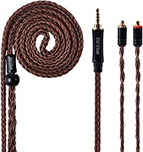 MMCX Connector Earphone Cable,Better 16 Core Silver Plated Wire Earphones Upgrade Cable,Exchange Audio Cable for UE900 SE215 SE315 SE846 SE535 SE425 TIN Audio T2 Fiio f9 LZ TRI etc.(Brown-MMCX 2.5mm)