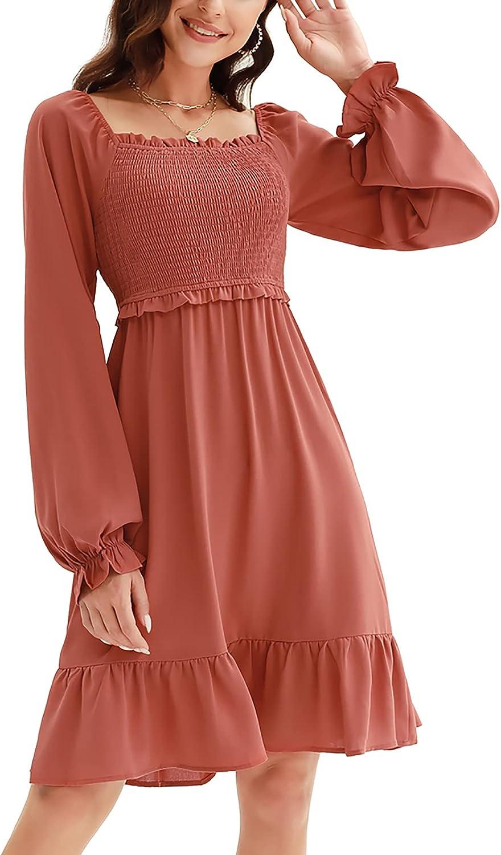 CURLBIUTY Womens Long Sleeves Off Shoulder Smocked Ruffles Casual Mini Dress