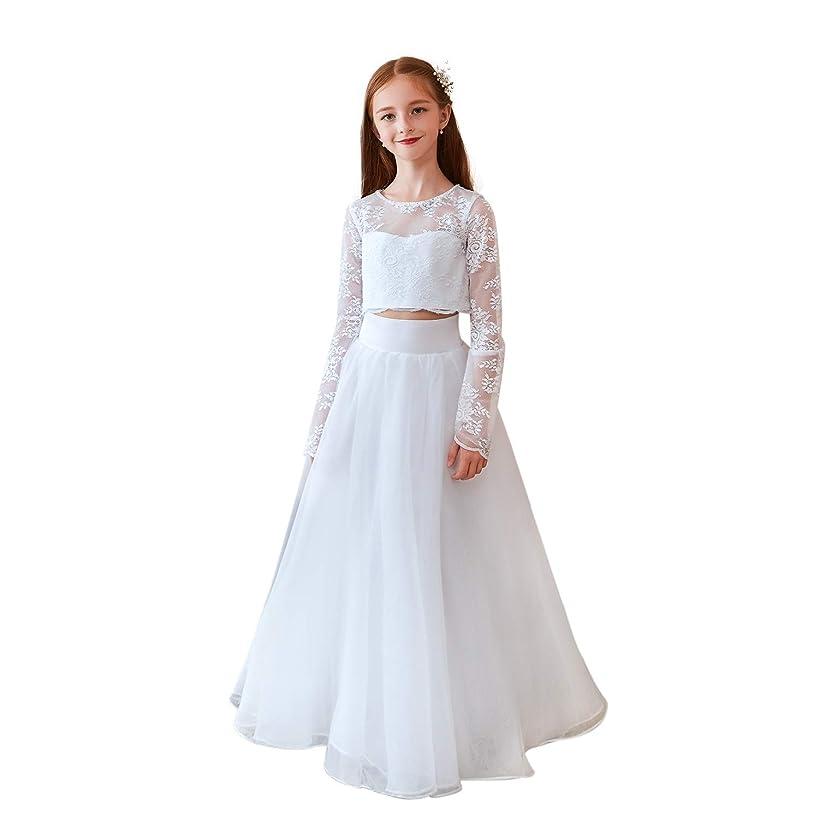 Leyidress Two Piece Wedding Flower Girl Dress Lace Formal Occasion Kids Party Dress