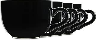 Serami 22oz Black Ceramic Large Soup or Cappuccino Bowl Mugs with Thick Walls, Set of 4