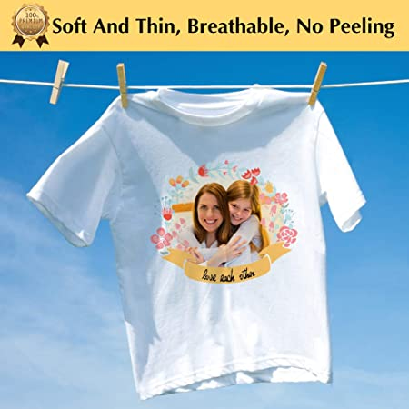 TransOurDream Tru-Transfer Paper for Light Fabric Inkjet 20 Sheets A4 Iron on Heat Transfer Paper for T Shirt Printing Paper Easy to Use Wash Durable Printable Heat Transfer Vinyl (TOD-1)