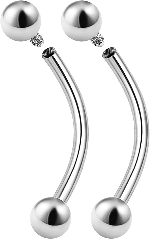 2PCS Stainless Steel Internally Threaded Curved Barbell 16 Gauge 3mm Ball Lobe Earrings Eyebrow Piercing Jewelry Choose Sizes