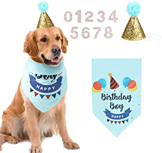 AriTan Dog Birthday Bandana Boy, Party Cone Hat and 10 Numbers Accessory, Double Layer Soft Triangle Scarf Bib for Large M...