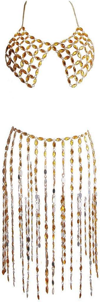 Sinkcangwu Womens Body Chain Suit Crystal Bra Jewelry Boho Waist Belly Chain with Tassel Skirt for Party Summer Beach Bikini