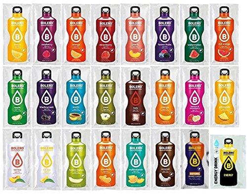 Bolero Kennenlernpaket mit 24 Sorten + Foodtastic Shaker 500ml I zuckerfreies Getränkepulver mit Stevia gesüßt I Mixbox zum Testen aller Geschmäcker