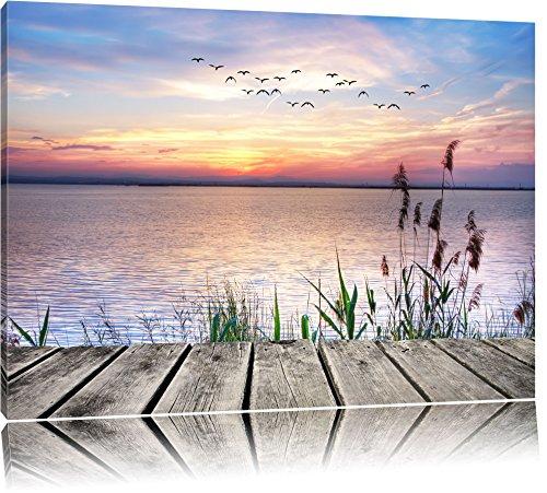 Steg mit Ausblick aufs Meer Format: 120x80 auf Leinwand, XXL riesige Bilder fertig gerahmt mit Keilrahmen, Kunstdruck auf Wandbild mit Rahmen, günstiger als Gemälde oder Ölbild, kein Poster oder Plakat