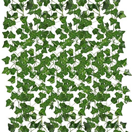 Houdao - 12pcs Hiedra Artificiales Guirnalda Hojas Artificial Verdes Plantas Falsas Decoración para Terrazas Jardín Hogar Interior y Exterior