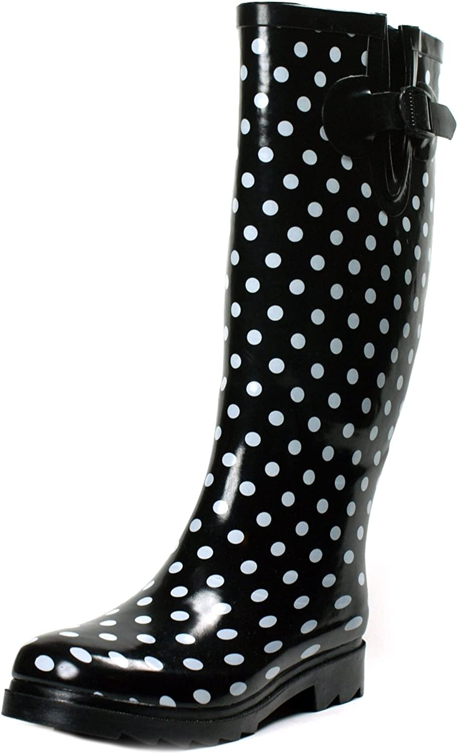 Ownshoe Women Rubber Polka Dots Mid Calf Wellies color Dots Rainboots