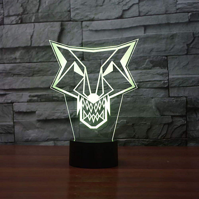 WZYMNYD 7 Farbwechsel Neuheit Wolfs-Totem Modellierung 3D Nachtlichter Für Led Touch Button Für Kindergeburtstag Kreative Tischlampe Geschenke